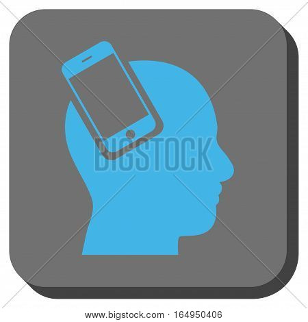 Smartphone Head Integration toolbar button. Vector pictograph style is a flat symbol inside a rounded square button blue and gray colors.
