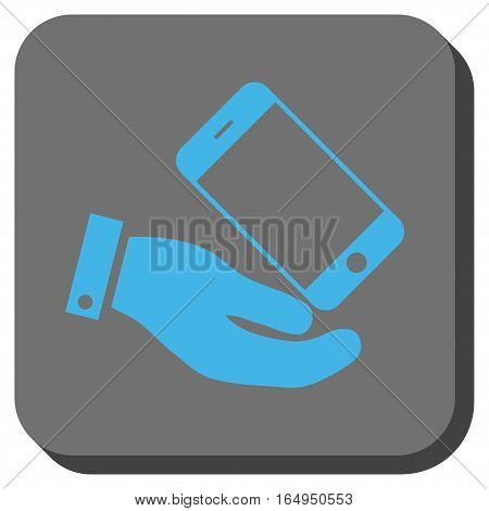 Smartphone Offer Hand rounded icon. Vector pictograph style is a flat symbol inside a rounded square button blue and gray colors.
