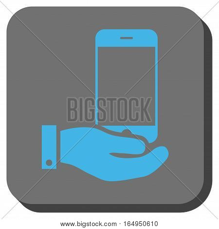 Smartphone Offer Hand interface toolbar icon. Vector pictograph style is a flat symbol inside a rounded square button blue and gray colors.