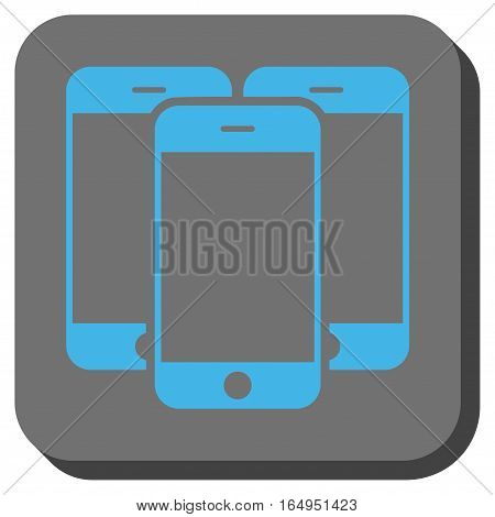 Smartphones square button. Vector pictograph style is a flat symbol centered in a rounded square button blue and gray colors.