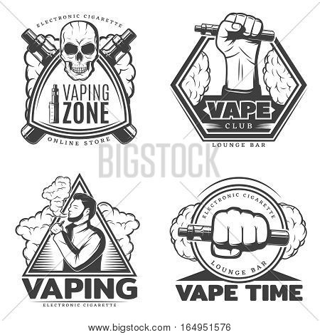 Monochrome smoke labels with electronic cigarette vaporizer and smoking person in vintage style isolated vector illustration