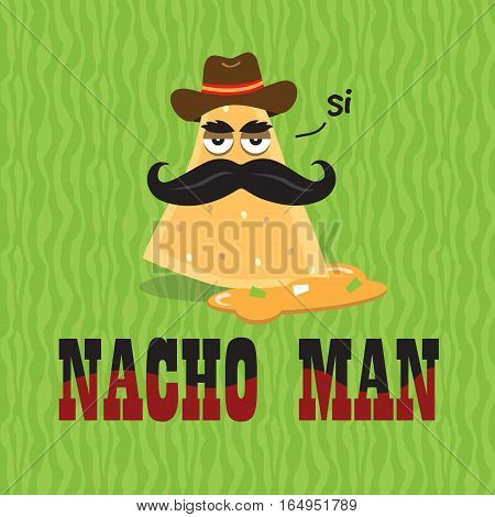 Nacho Man with Mustache and Hat in Cheese Food Illustration