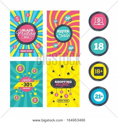 Sale website banner templates. Adult content icons. Eighteen and twenty-one plus years sign symbols. Notebook website notice. Ads promotional material. Vector