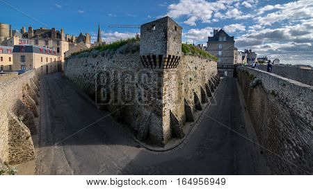 High stone fortification walls of Saint-Malo city, Bretagne, France