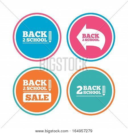 Back to school sale icons. Studies after the holidays signs. Pencil symbol. Colored circle buttons. Vector