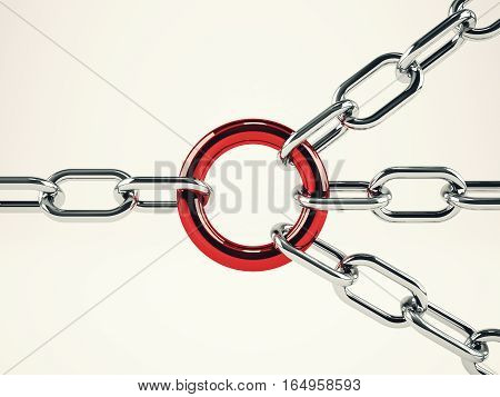 Cooperation business concept with chains bound together. mixed media