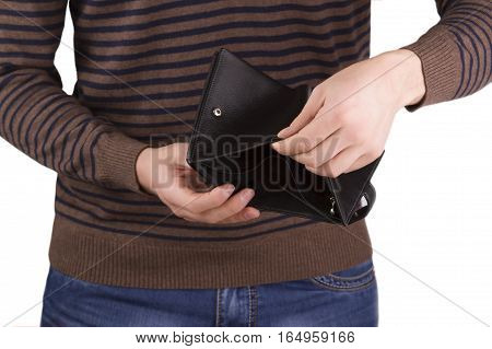 man holding an empty wallet on a white background