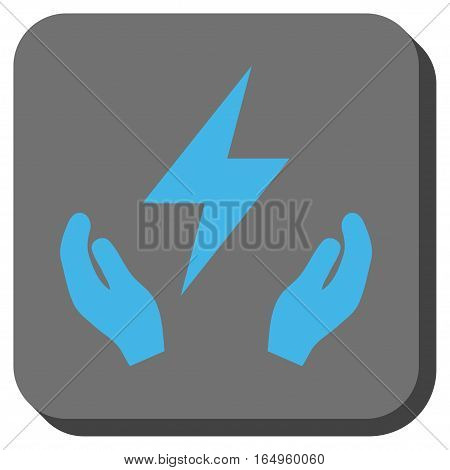 Electricity Maintenance Hands square button. Vector pictograph style is a flat symbol inside a rounded square button blue and gray colors.