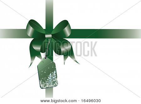 ribbon with gift tag in vector