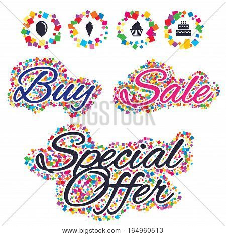 Sale confetti labels and banners. Birthday party icons. Cake with ice cream signs. Air balloon symbol. Special offer sticker. Vector
