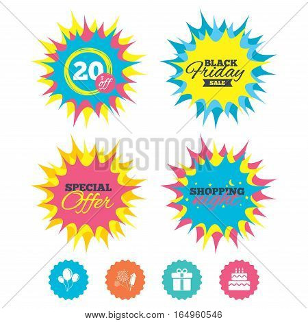 Shopping night, black friday stickers. Birthday party icons. Cake and gift box signs. Air balloons and fireworks symbol. Special offer. Vector