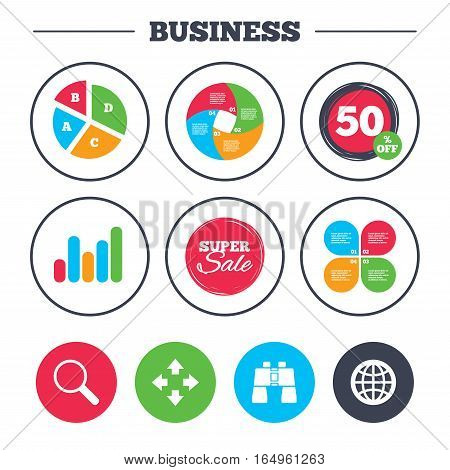 Business pie chart. Growth graph. Magnifier glass and globe search icons. Fullscreen arrows and binocular search sign symbols. Super sale and discount buttons. Vector