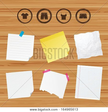 Business paper banners with notes. Clothes icons. T-shirt and bermuda shorts signs. Swimming trunks symbol. Sticky colorful tape. Vector
