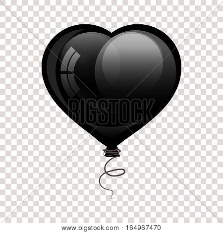 Black glossy flying balloon in shape of heart. Vector iilustrate. Valentine for Valentine's Day.