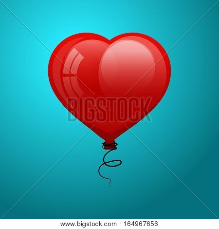 Red glossy flying balloon in shape of heart. Vector illustrate. Valentine for Valentine's Day.