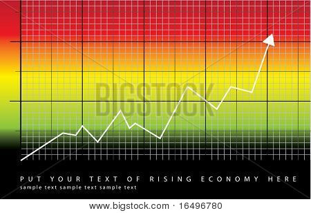 graph showing rise in profits or earnings / vector illustration