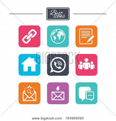 Communication icons. Contact, mail signs. E-mail, call phone and group symbols. Colorful flat square buttons with icons. Vector