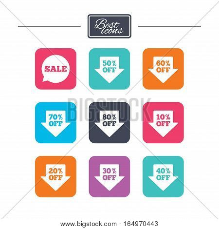 Sale discounts icons. Special offer signs. Shopping price tag symbols. Colorful flat square buttons with icons. Vector