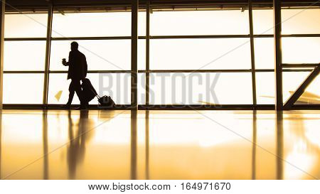 Travellers - aircraft commander with coffee to go going in airport in front of window, silhouette, warm, wide angle