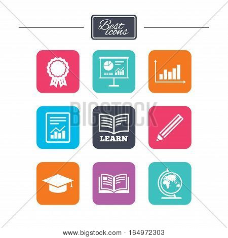 Education and study icon. Presentation signs. Report, analysis and award medal symbols. Colorful flat square buttons with icons. Vector