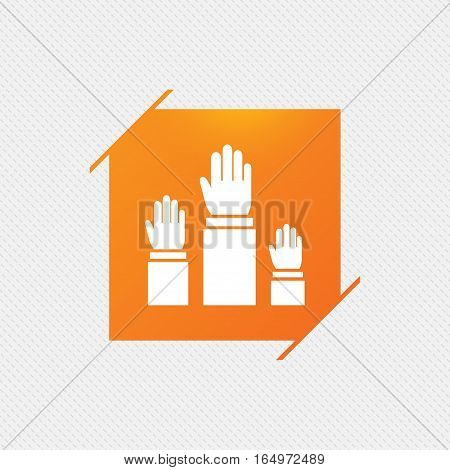 Election or voting sign icon. Hands raised up symbol. People referendum. Orange square label on pattern. Vector