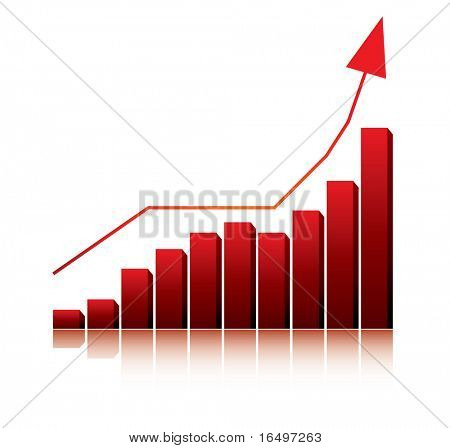 3d graph showing rise in profits or earnings / vector illustration