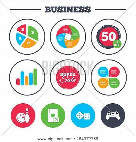 Business pie chart. Growth graph. Bowling and Casino icons. Video game joystick and playing card with dice symbols. Entertainment signs. Super sale and discount buttons. Vector