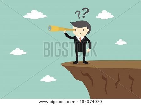 Business concept, Boss/Businessman using his telescope looking for something in the sky. Vector illustration.