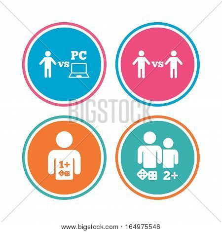 Gamer icons. Board and PC games players signs. Player vs PC symbol. Colored circle buttons. Vector