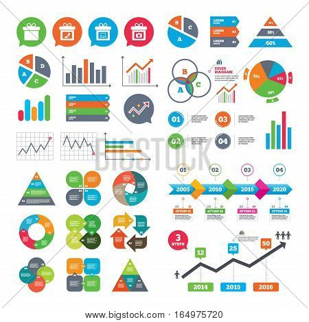 Business charts. Growth graph. Gift box sign icons. Present with bow symbols. Photo camera sign. Woman shoes. Market report presentation. Vector