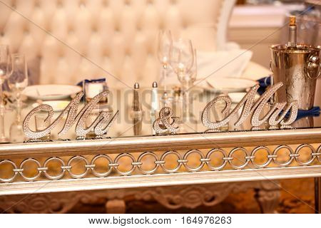 Bride And Groom Table With Colorful Decoration For Celebration.