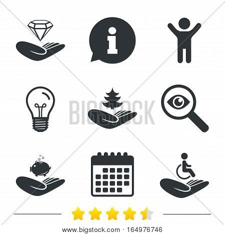 Helping hands icons. Protection and insurance symbols. Financial money savings, save forest. Diamond brilliant sign. Disabled human. Information, light bulb and calendar icons. Investigate magnifier