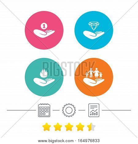Helping hands icons. Financial money savings, family life insurance symbols. Diamond brilliant sign. Fire protection. Calendar, cogwheel and report linear icons. Star vote ranking. Vector