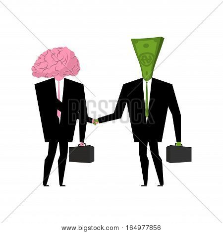 Brain And Money Business. Businessmen Shaking Hands. Human Brains In Suit And Cash
