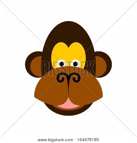 Monkey Face Isolated. Chimpanzee Head On White Background