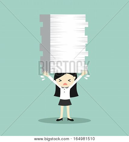Business concept, Business woman is holding a lot of papers. Vector illustration.