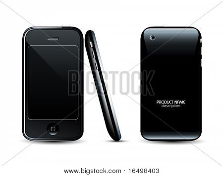 Modern mobile phone - front back and side views - professional vector icon
