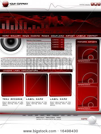 Vector web site design template for Media Production site but easy to change for other purposes