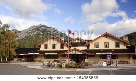 Banff, Canada - September 3, 2016:  Historic Banff Train Station