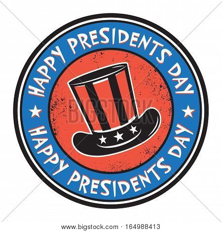 Grunge rubber color stamp or label with hat and text Happy Presidents Day vector illustration