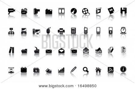 Los iconos de los medios de comunicación - grandes conjunto de vectores
