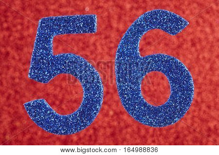 Number fifty-six blue color over a red background. Anniversary. Horizontal