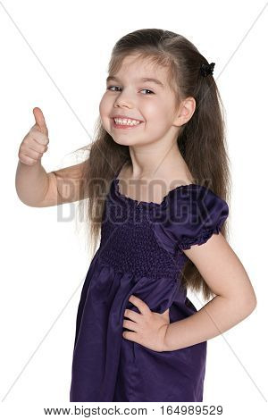 Happy Little Girl Holds Her Thumb Up