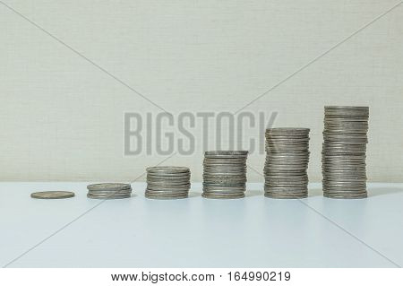 Closeup pile of coin start from low to high on white wood desk and cream wallpaper textured background with copy space