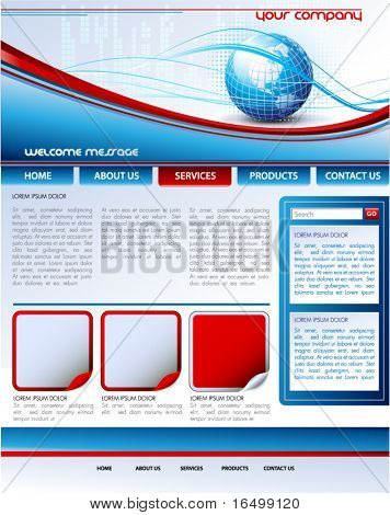 Vector web site design template with Earth globe