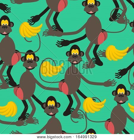 Hamadryad Seamless Pattern. Monkey Red Butt And Banana Background