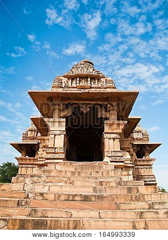 Erotic Temple in Western Temples of Khajuraho Madhya Pradesh India. Unesco World Heritage Site. Popular amongst tourists all over the world.