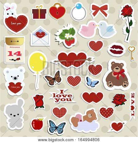 set of stickers badges and labels for Valentine's day with hearts. a collection of icons to decorate and design the wedding or message of love. vector illustration