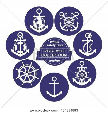 Set of icons in circles. Vector sea navigation element. Freehand drawn sailboat symbol. Stylized steering wheel, anchor, rope blue white color. Nautical advertisement label background, logo template