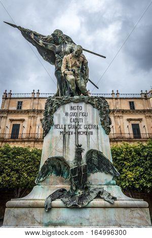 Noto Italy - December 15 2016: Monument
